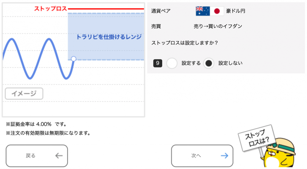 豪ドル/円のトラリピ設定(売り→買いイフダン)ストップロスの設定