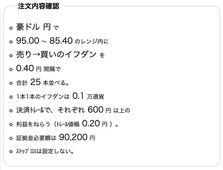 豪ドル/円のトラリピ設定(売り→買いイフダン)トラリピ設定の確認