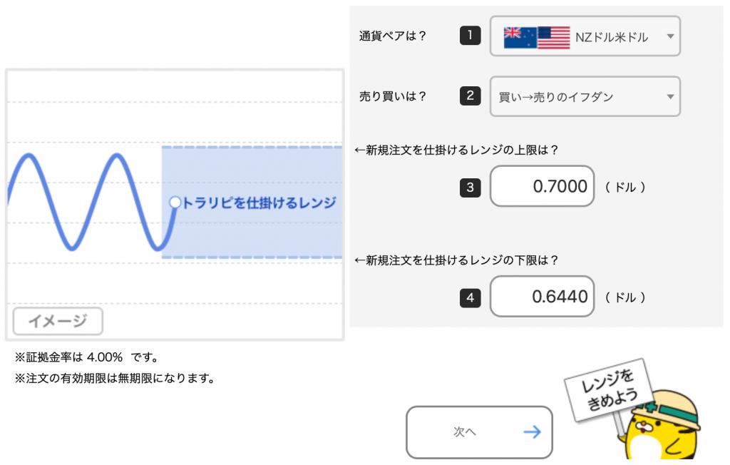 NZドル/米ドルのトラリピ設定(買い→売りイフダン)取引通貨、売買の選択、レンジを設定