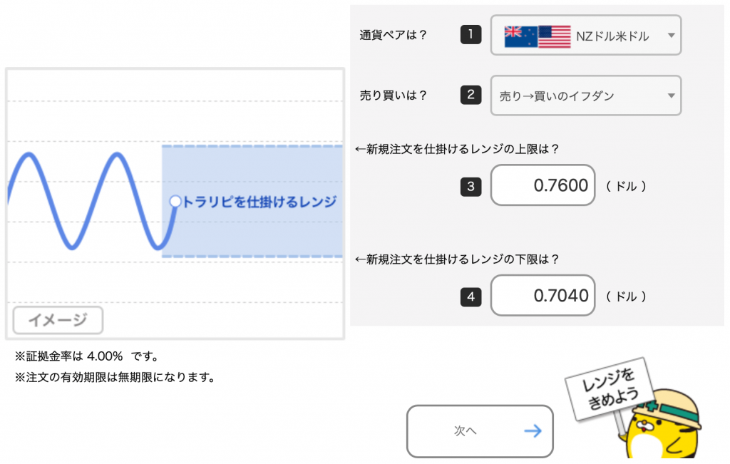 NZドル/米ドルのトラリピ設定(売り→買いイフダン)取引通貨、売買の選択、レンジを設定