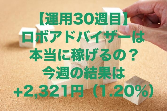 【運用30週目】ロボアドバイザーは本当に稼げるの?今週の結果は+2,321円(1.20%)