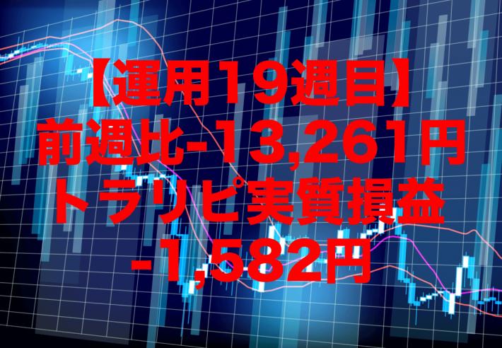 【運用19週目】トラリピの実質利益は前週比-13,261円で通算-1,582円