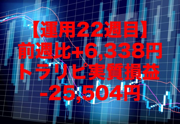 【運用22週目】トラリピの実質利益は前週比+6,338円で通算-25,504円