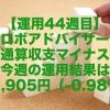 【運用44週目】ロボアドバイザー通算収支マイナス、今週の運用結果は-1,905円(-0.98%)
