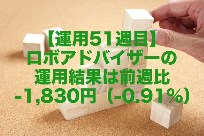 【運用51週目】ロボアドバイザーの運用結果は前週比-1,830円(-0.91%)