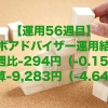 【運用56週目】ロボアドバイザーの運用結果は前週比-294円(-0.15%)、通算-9,283円(-4.64%)