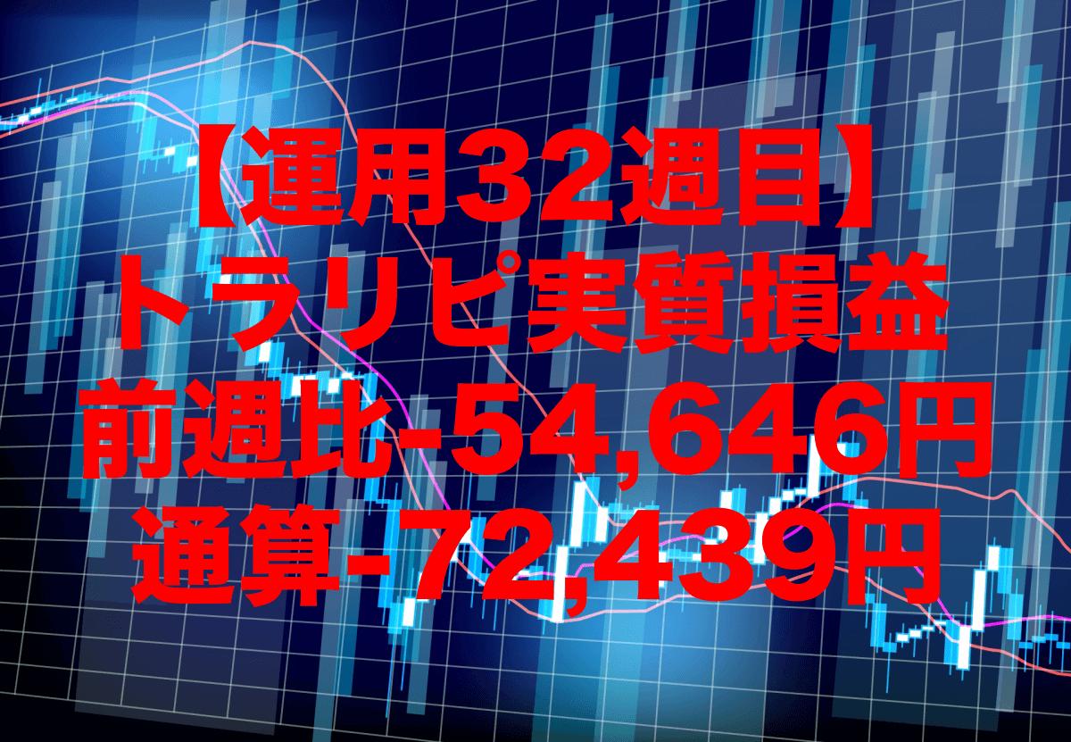 【運用32週目】トラリピの実質利益は前週比-54,646円、通算-72,439円