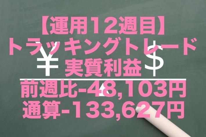 【運用12週目】トラッキングトレードの実質利益は前週比-48,103円、通算-133,627円