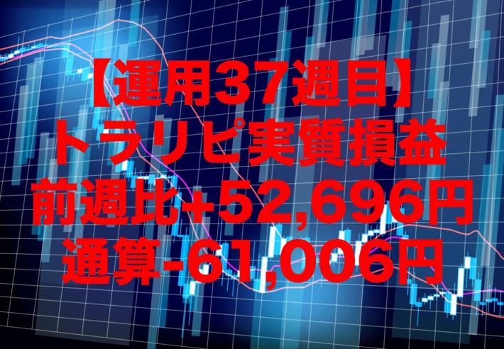 【運用37週目】トラリピの実質利益は前週比+52,696円、通算-61,006円