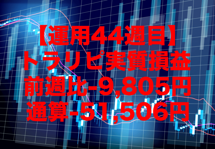【運用44週目】トラリピの実質利益は前週比-9,805円、通算-51,506円