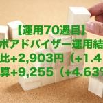 【運用70週目】ロボアドバイザーの運用結果は前週比+2,903円(+1.41%)、通算+9,255(+4.63%)