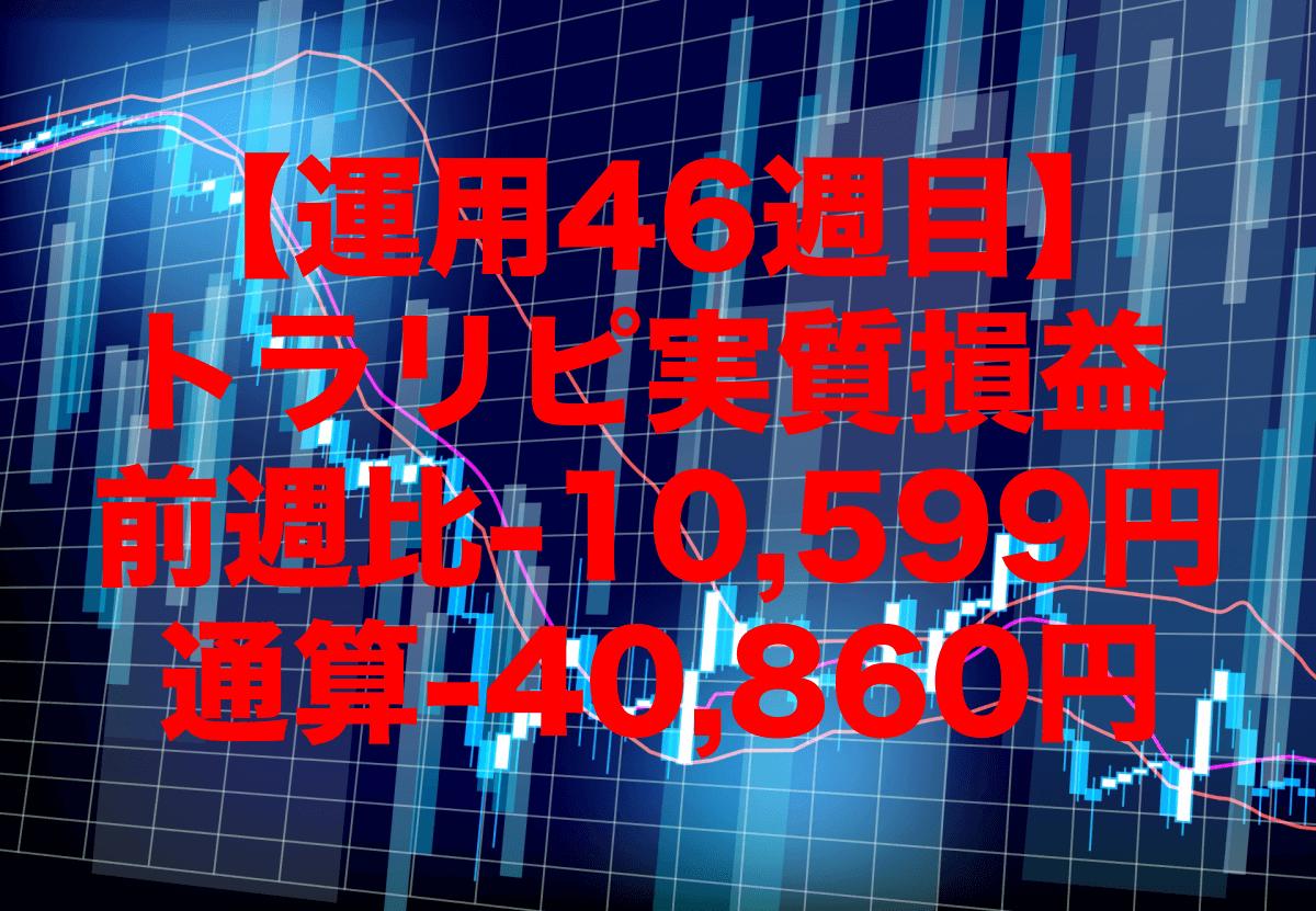 【運用46週目】トラリピの実質利益は前週比-10,599円、通算-40,860円