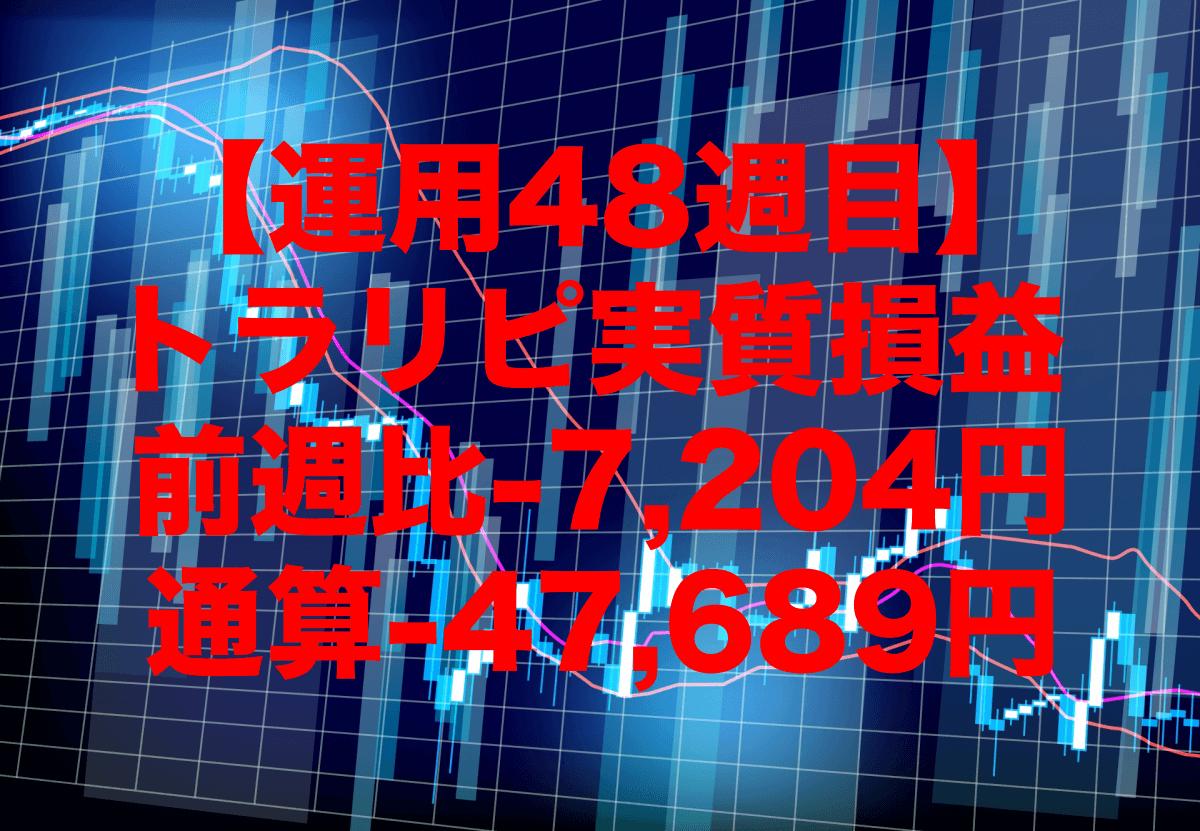 【運用48週目】トラリピの実質利益は前週比-7,204円、通算-47,689円