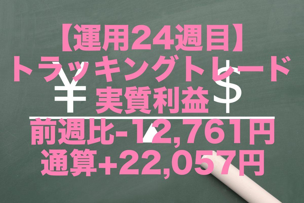 【運用24週目】トラッキングトレードの実質利益は前週比-12,761円、通算+22,057円