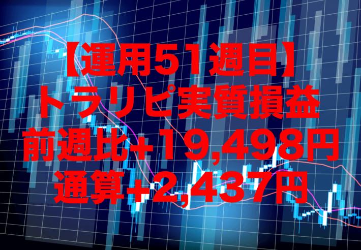 【運用51週目】トラリピの実質利益は前週比+19,498円、通算+2,437円
