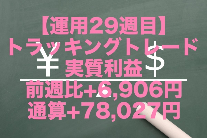 【運用29週目】トラッキングトレードの実質利益は前週比+6,906円、通算+78,027円