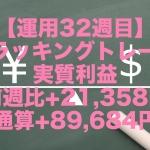 【運用32週目】トラッキングトレードの実質利益は前週比+21,358円、通算+89,684円