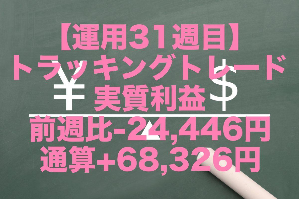 【運用31週目】トラッキングトレードの実質利益は前週比-24,446円、通算+68,326円