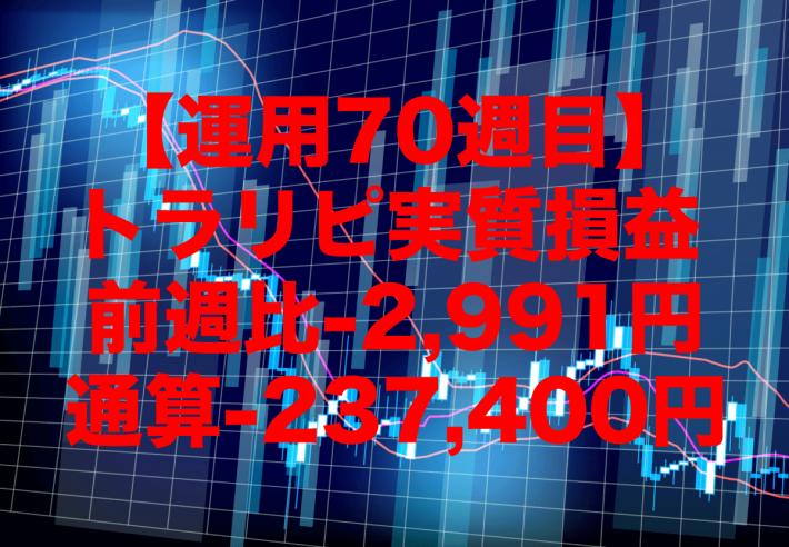 【運用70週目】トラリピの実質利益は前週比-2,991円、通算-237,400円