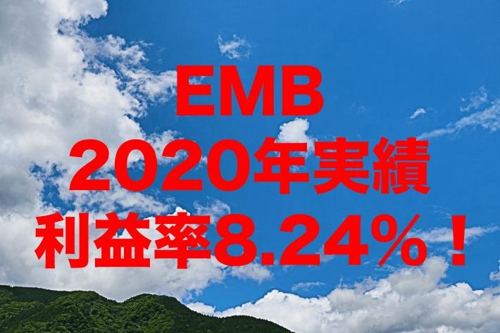 利益率8.24%!2020年のEMB(iシェアーズ J.P.モルガン・米ドル建てエマージング・マーケット債券 ETF)運用実績