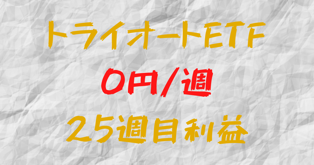 トライオートETF 週間利益+0円(25週目)