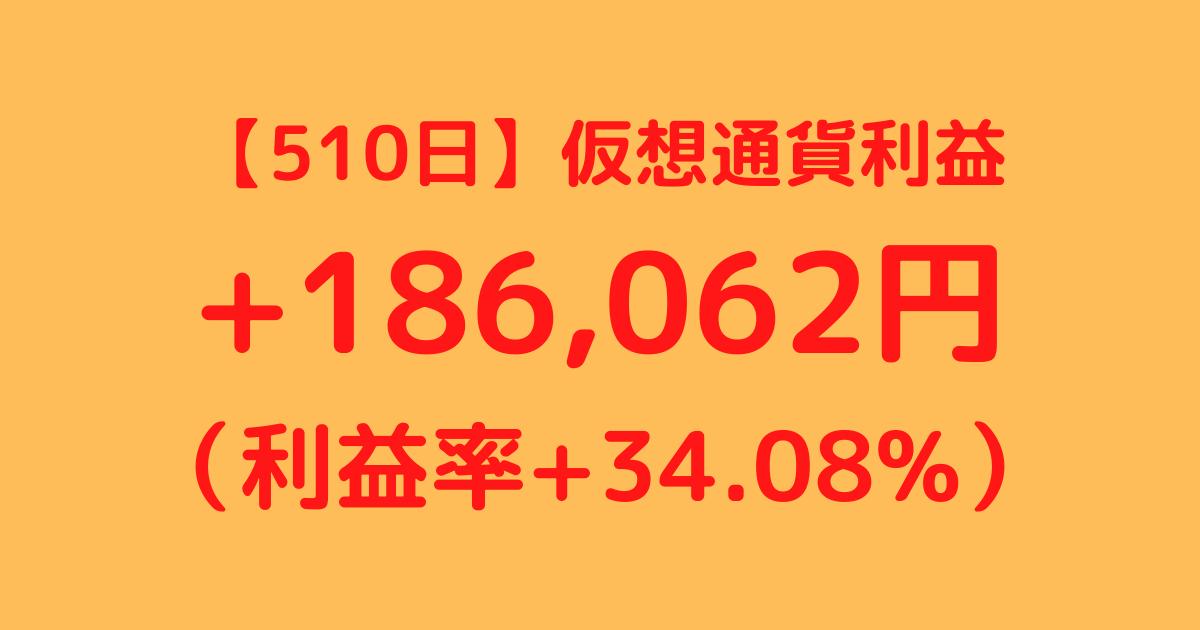【510日】仮想通貨利益+186,062円(利益率+34.08%)