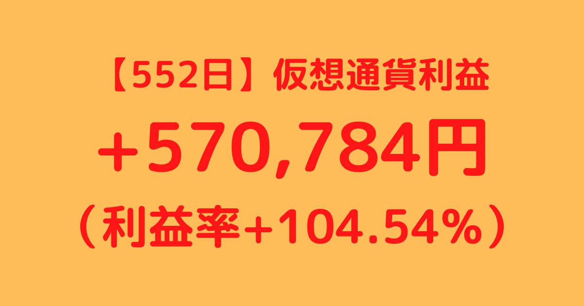 【552日】仮想通貨利益+570,784円(利益率+104.54%)