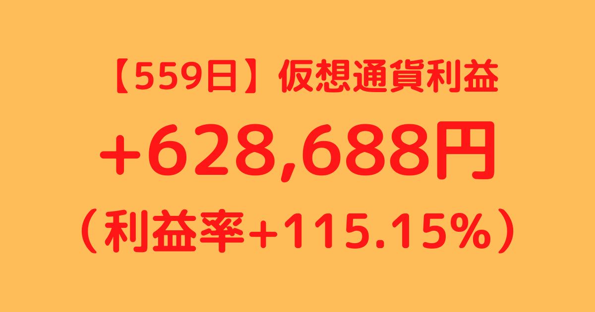 【559日】仮想通貨利益+628,688円(利益率+115.15%)