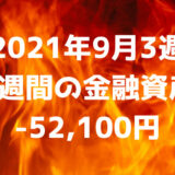 【2021年9月3週】週間の金融資産-52,100円