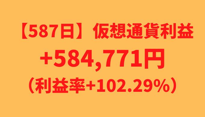 【587日】仮想通貨利益+584,771円(利益率+102.29%)