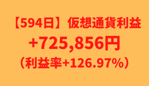 【594日】仮想通貨利益+725,856円(利益率+126.97%)