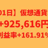 【601日】仮想通貨利益+925,616円(利益率+161.91%)